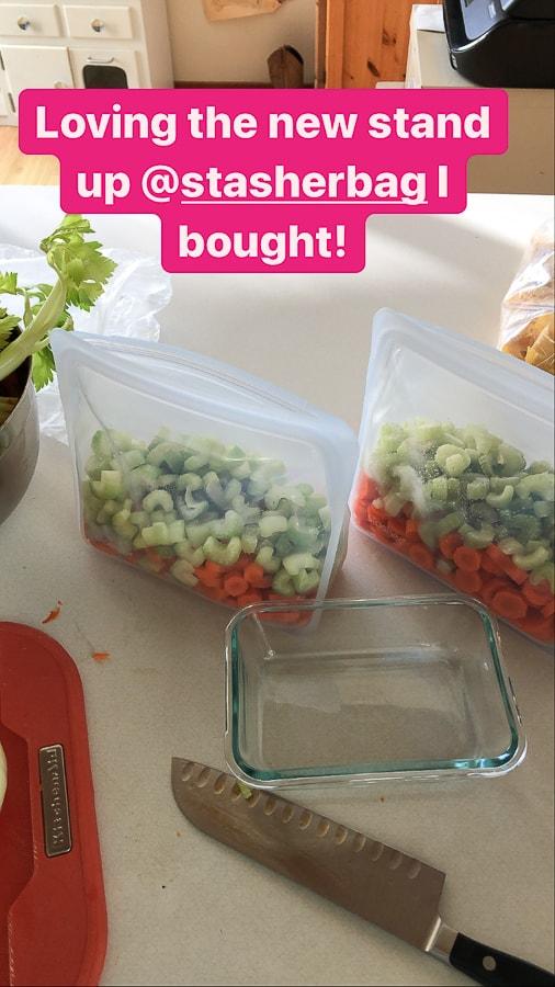 chopped veggies in reusable stasher bags