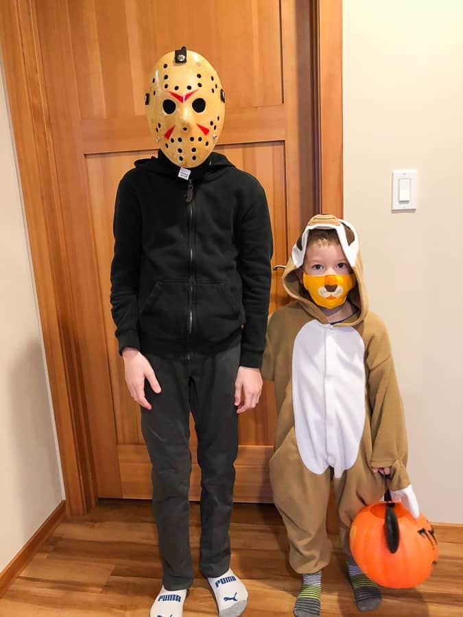 2 boys in halloween costumes