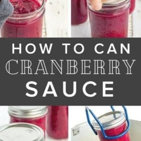 4 photos showing the process for canning cranberry sauce