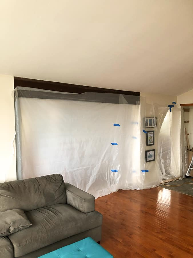a room with plastic sheeting