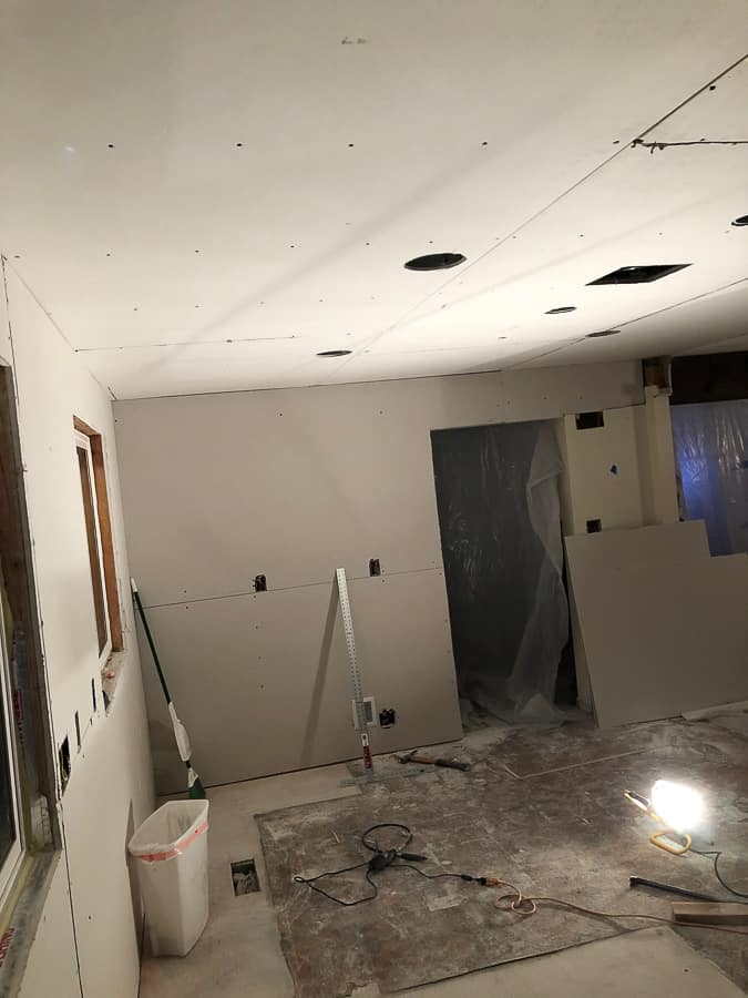 drywall on kitchen walls