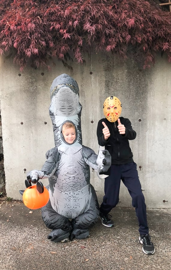 a boy in a dinosauce costume and a kid in a Jason mask