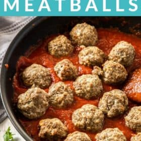 a skillet with meatballs and tomato sauce