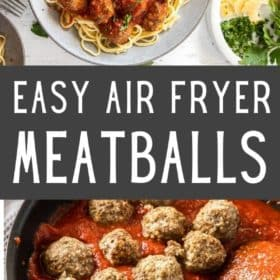 a plate with spaghetti topped with air fryer meatballs