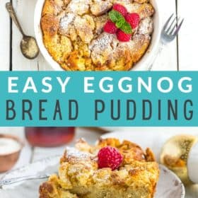a white dish with eggnog bread pudding topped with raspberries
