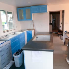 a kitchen under construction