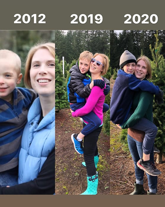 a mom and son in 3 different photos