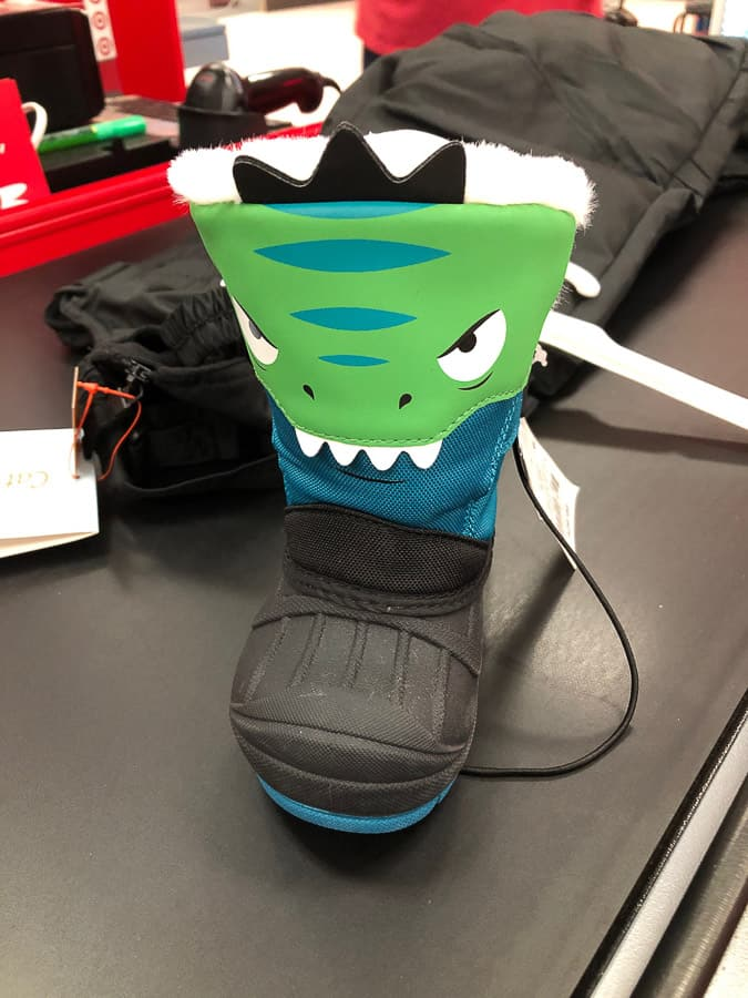 dinosaur snow boots