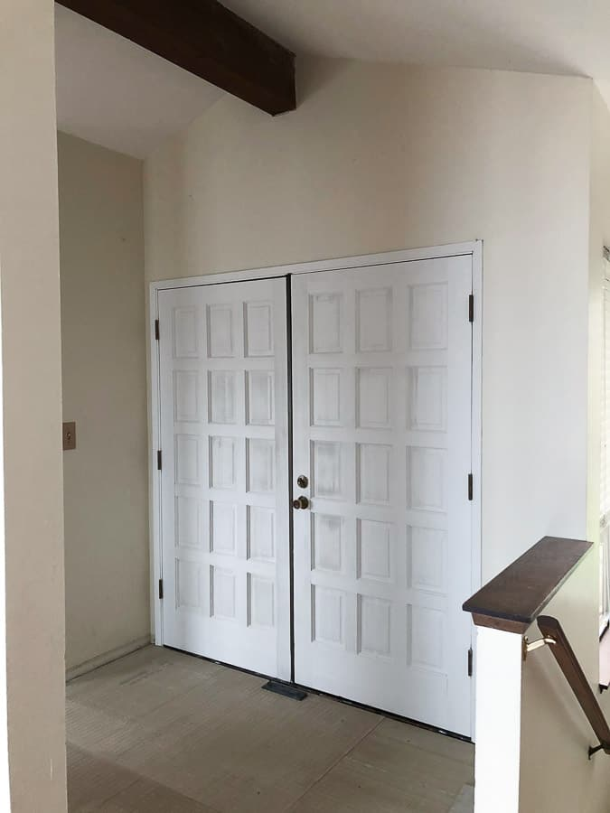 a large white front door