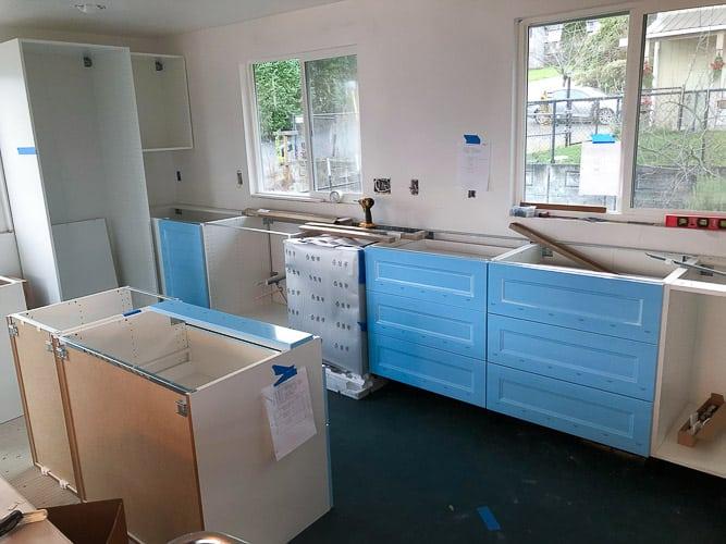 a kitchen under construction