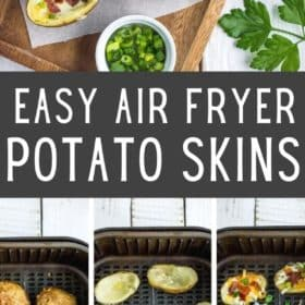 air fryer potato skins on a wooden plate