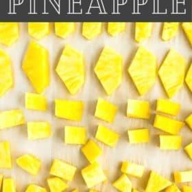 chunks of frozen pineapple on a baking sheet
