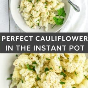 a white bowl of instant pot cauilflower topped with parsley