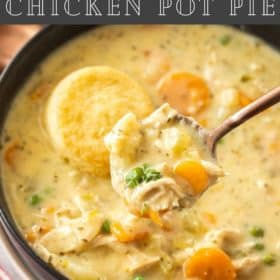 a black bowl with a spoon full of Instant Pot chicken pot pie