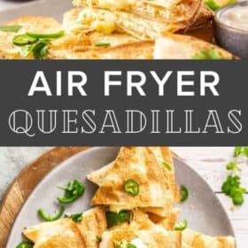 A plate of air fryer quesadillas topped with cilantro