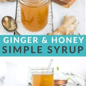 a jar of honey ginger syrup with a spoon