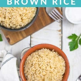 Two bowls of Instant Pot brown rice on a white board
