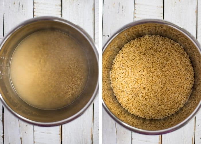 Two photos showing brown rice cooking in an Instant Pot