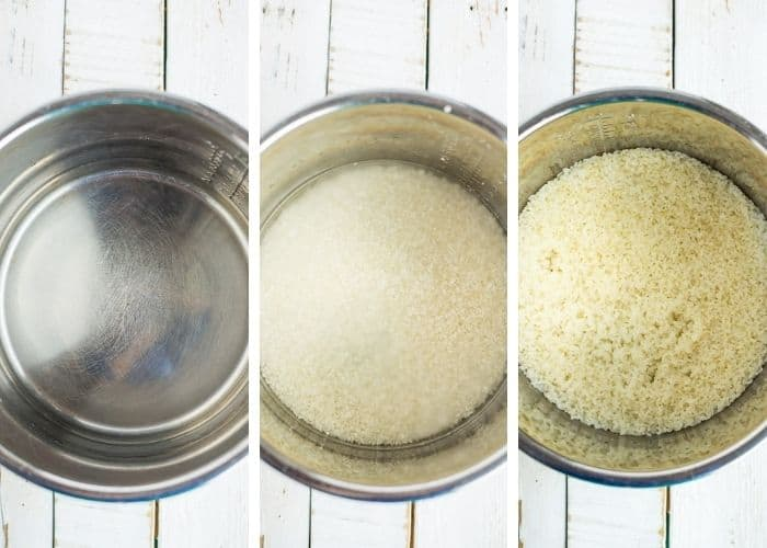 3 photos showing how to make sushi rice in the Instant Pot