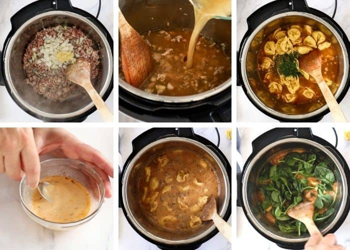 6 photos showing how to make a soup recipe in an Instant Pot