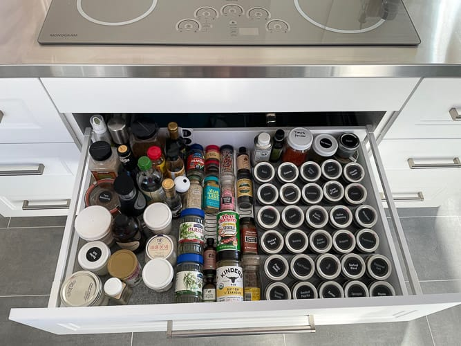 spices in a kitchen drawer