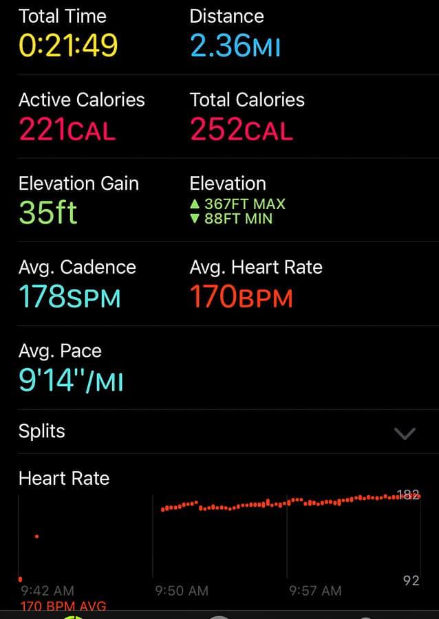 a screenshot of a workout report