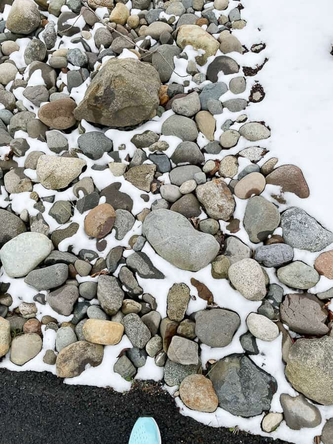 rocks with some snow