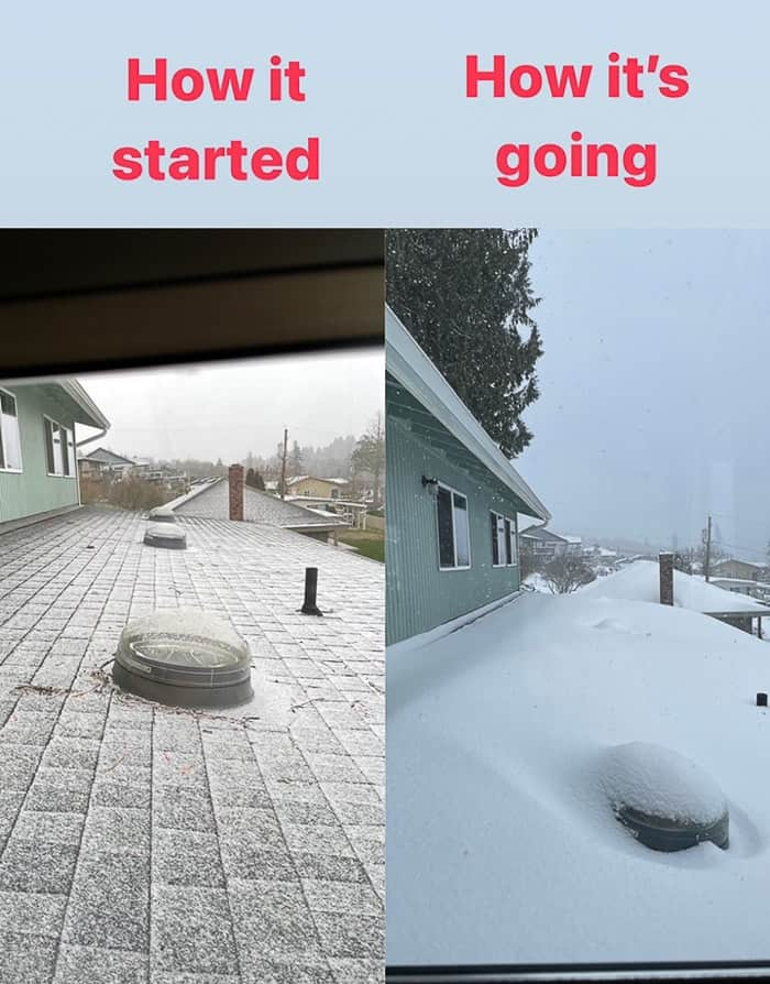 2 photos showing snow on a roof
