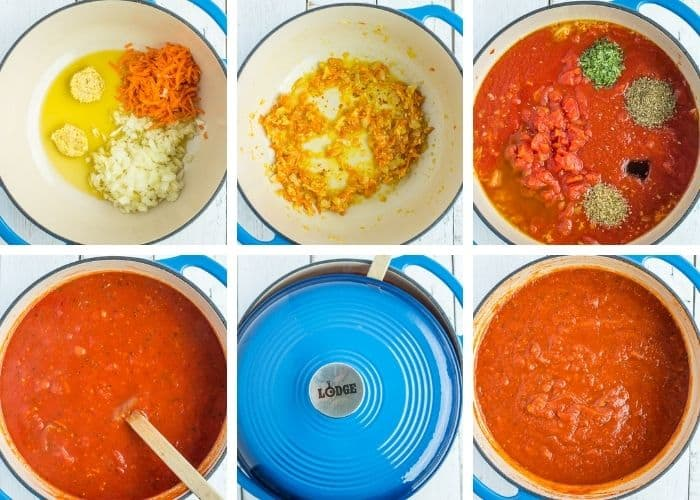 6 photos showing step by step how to make freezer spaghetti sauce