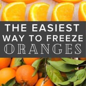 Frozen orange slices on a baking sheet