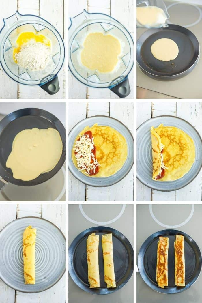 9 photos showing step by step how to make crepes
