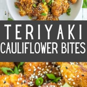 a white bowl of teriyaki cauliflower with black and white sesame seeds and sliced green onions