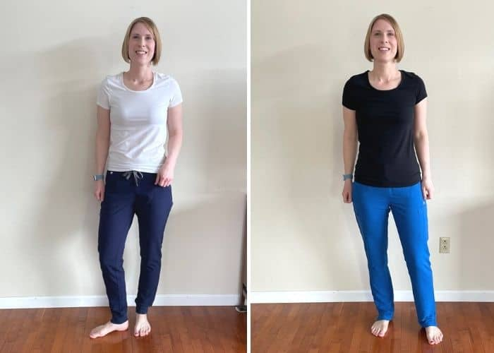 2 photos of a woman wear scrub pants