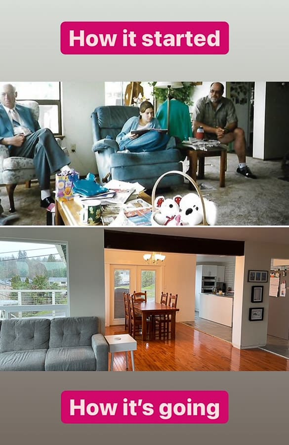 a before and after of a room