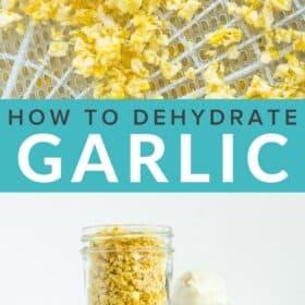 dried pieces of garlic on a dehydrator tray