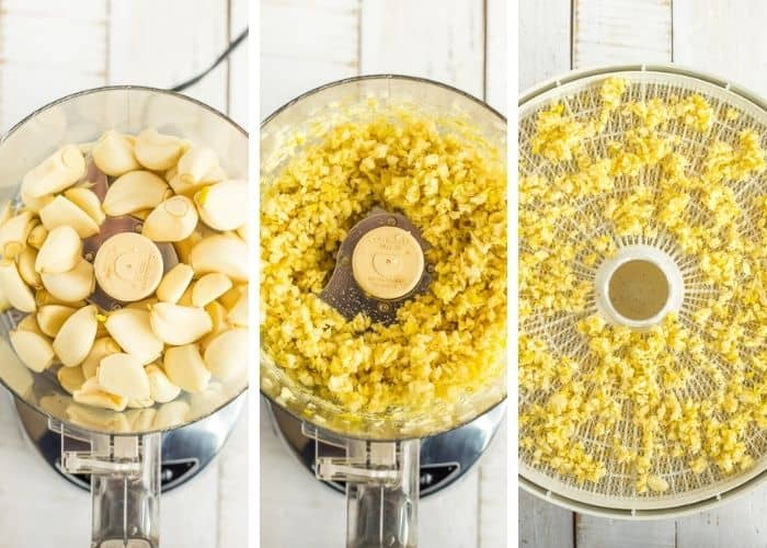 3 photos showing how to dry garlic in a dehydrator