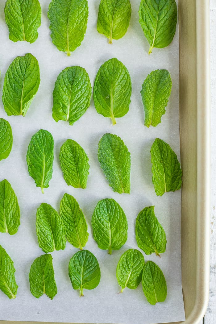 mint leaves on a baking tray