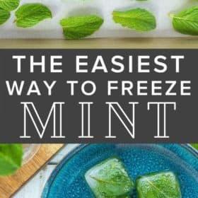 frozen cubes on mint on a blue plate