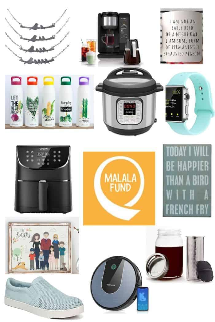 different gift ideas for mother's day on a white background
