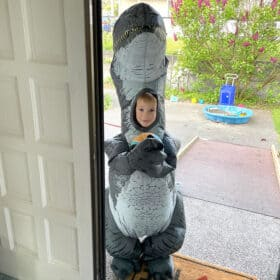 a boy in a dinosaur costume holding a basketball at a front door