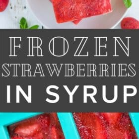 bricks of frozen strawberries in syrup on a white plate with a sprig of mint