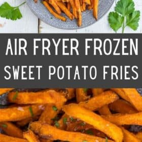frozen sweet potato fries in an air fryer on a plate