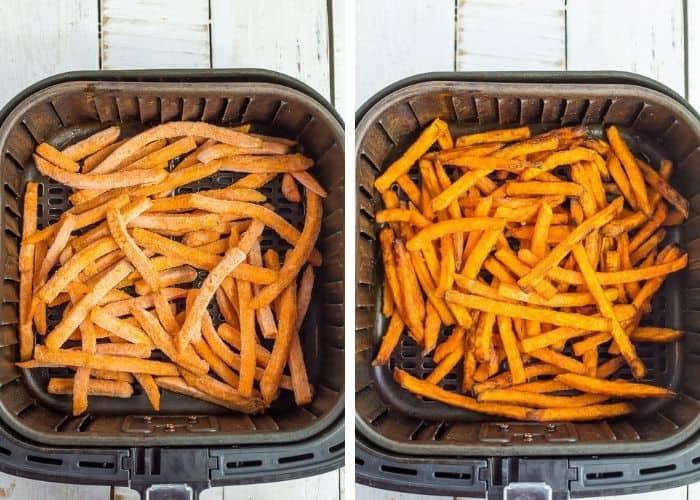 2 photos showing frozen fries in an air fryer