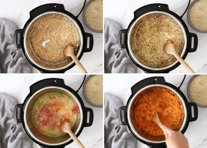 4 photos showing step by step how to make Mexican rice in the Instant Pot