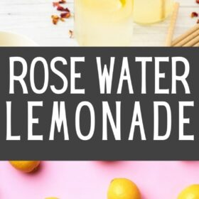 multiple glasses of rose lemonade with slices of lemon and rose petals on a white board