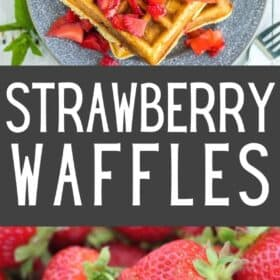 Strawberry waffles topped with sliced strawberries and whipped cream