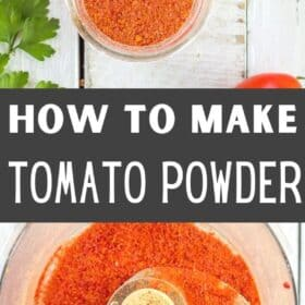 a glass canning jar of homemade tomato powder