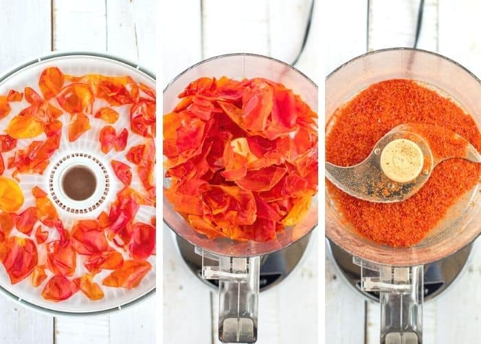 3 photos showing the process of making tomato powder