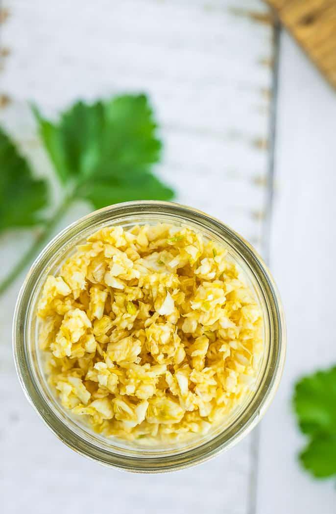 a jar of dried chunks of garlic