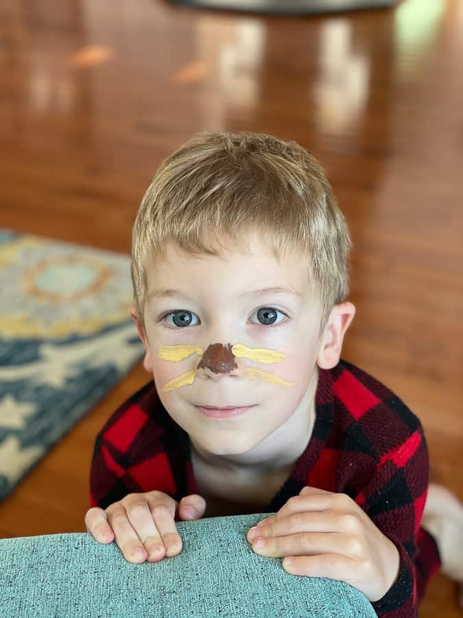 a boy with facepaint to look like a cat sloth